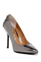 J. Renee Fizzle Snake Embossed Studded Stiletto Wide Width Available Gray