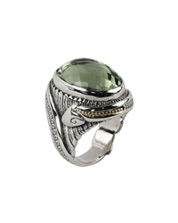 Konstantino Faceted Green Amethyst Carved Snake Ring Size 7