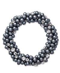 Charter Club Silver Tone Gray Imitation Pearl And Crystal Cluster Stretch Bracelet Only At Macy's Grey