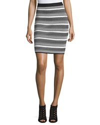 Catherine Catherine Malandrino Striped Knit Pencil Skirt Black White