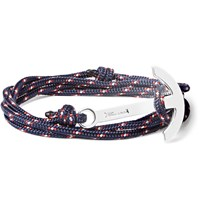 Miansai Cord And Silver Plated Anchor Bracelet Navy