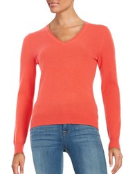 Lord And Taylor Basic V Neck Cashmere Sweater Spice
