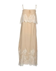 Gold Hawk Long Dresses Beige