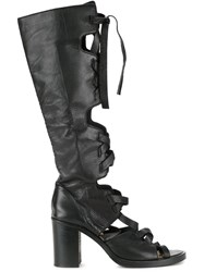 Kitx Laced Open Toe Boots Black