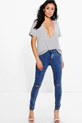 Boohoo High Rise Acid Wash Knee Slit Skinny Jeans Blue