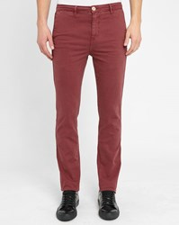 M.Studio Burgundy Noa Fitted Cotton Chinos
