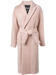 Msgm Long Robe Coat Pink And Purple