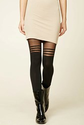 Forever 21 Striped Colorblock Tights Black Black