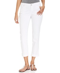 Style And Co. Petite Curvy Fit Straight Leg Ankle Jeans Bright White Wash