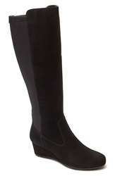 Rockport 'Total Motion' Knee High Wedge Boot Women Wide Calf Black Suede