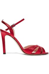 Sarah Jessica Parker Sjp By Westminster Metallic Leather Sandals Red