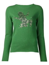 Lucien Pellat Finet 'Cash Crystal Metal Frong' Pullover Green
