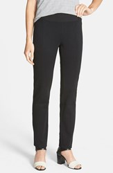 Petite Women's Eileen Fisher Yoke Detail Stretch Knit Skinny Pants