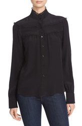 See By Chloe Women's High Neck Lace Embellished Silk Blouse Black