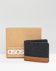 Asos Wallet In Melton With Contrast Black