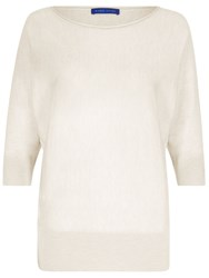 Winser London Merino Silk And Cashmere Dolman Sleeve Jumper White
