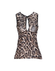 Just Cavalli Underwear Sleeveless Undershirts Dark Brown