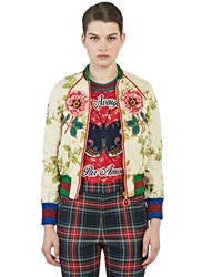 Gucci Floral Embroidered Bomber Jacket White