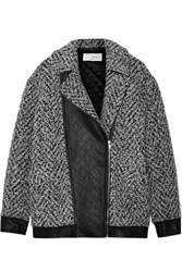 Thakoon Leather Trimmed Boucle Jacket Black