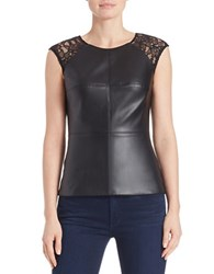 Bailey 44 Lace Accented Faux Leather Peplum Top Black