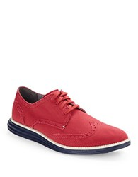 Cole Haan Original Grand Wingtip Loafers Red Canvas