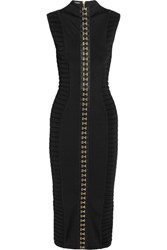 Balmain Ribbed Stretch Knit Midi Dress Black