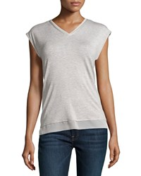 Marled By Reunited Clothing Chiffon Trim V Neck Tee Gray