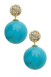 Sterling Forever Turquoise And Cz Cluster Double Sided Stud Earrings Metallic