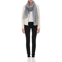The News Fringed Woven Scarf Gray