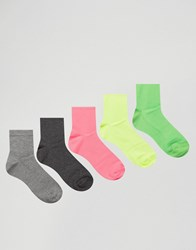 Asos Ankle Length Socks In Neon And Grey 5 Pack Multi