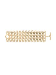 Christian Dior Vintage Star Row Wide Bracelet Metallic