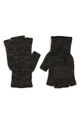 Men's Upstate Stock Fingerless Wool Gloves With Deerskin Leather Palms Black
