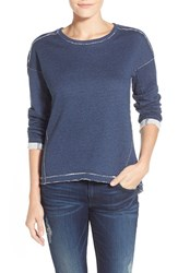 Women's Caslon High Low Sweatshirt Heather Navy Peacoat
