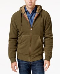 Weatherproof Vintage Men's Big And Tall Faux Sherpa Lined Hoodie Only At Macy's Dark Moss