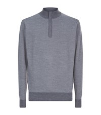 Peter Millar Half Zip Wool Jumper Male Grey