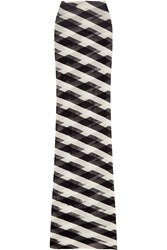 Stella Mccartney Striped Cotton Mesh Maxi Skirt Navy