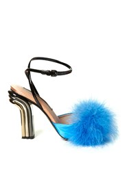 Marco De Vincenzo Feather Embellished Satin Sandals Blue Multi