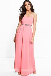 Boohoo Ria Embellished Waist Maxi Dress Coral