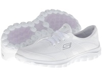 Skechers Performance Go Walk 2 Golf White Silver Women's Lace Up Casual Shoes