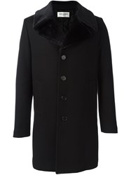 Saint Laurent Faux Fur Collar Coat Black