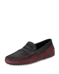 Tod's Gommini Colorblock Suede Penny Driver Gray Black Bordeaux Grey Black Bordea