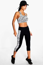 Boohoo Spot Side Panel Performance Running Legging Black
