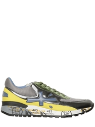 Premiata Django Metallic Leather And Nylon Sneakers Multi