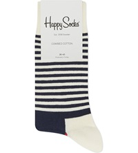 Happy Socks Half Stripe Socks Blue Red White