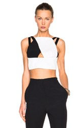 Roland Mouret Maida Rippled Chiffon And Stretch Chiffon Top In White