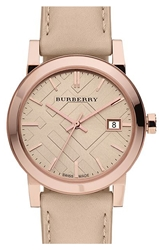 Burberry Check Stamped Round Dial Watch 34Mm Nude Rose Gold