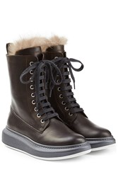 Brunello Cucinelli Leather Ankle Boots With Fur Lining Brown