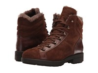 Aquatalia By Marvin K Lettie Fur Chestnut Pebbled Suede Calf Women's Lace Up Boots Brown