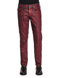 True Religion Geno Rebel Crush Coated Jeans Red