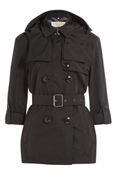 Burberry Brit Knightsdale Short Hooded Trench Coat Black